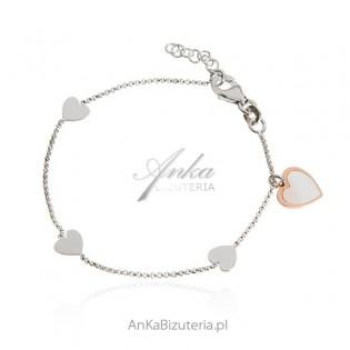 Bransoletka srebrna SERDUSZKA z białą emalią