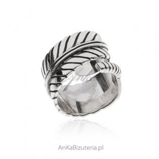 Srebrny pierścionek szeroki LIŚĆ