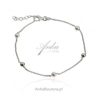 Bransoletka srebrna z perełkami