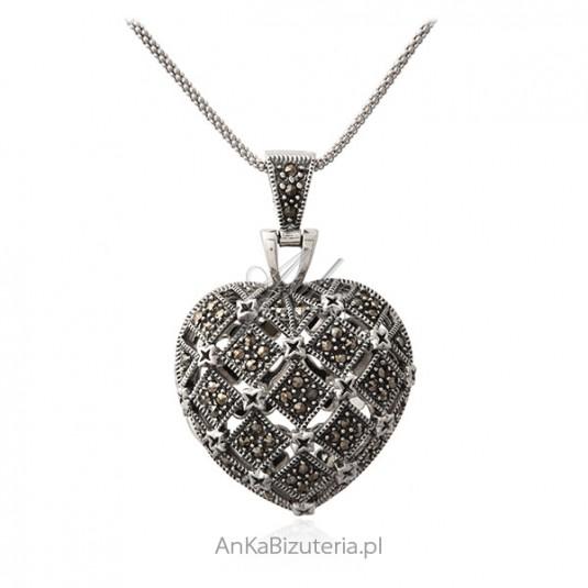 Zawieszka srebrna z markazytami SERDUSZKO - PUZDERKO