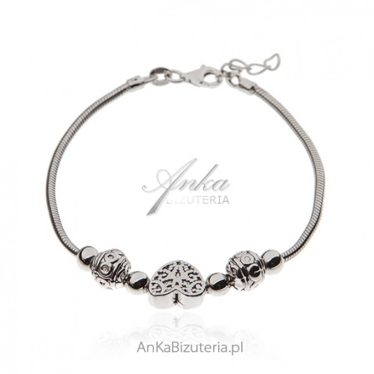 Bransoletka srebrna -rodowana włoska - PATI