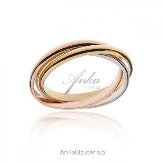 Pierścionek srebrny potrójne plecione obrączki