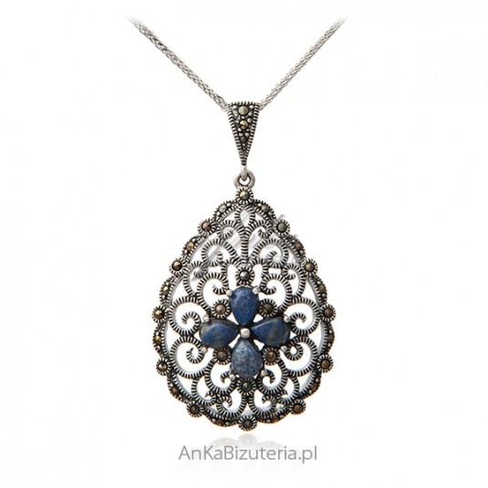 Srebrna zawieszka z markazytami i lapis lazuli