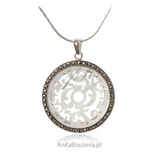 Zawieszka srebrna z markazytami i masą perłową