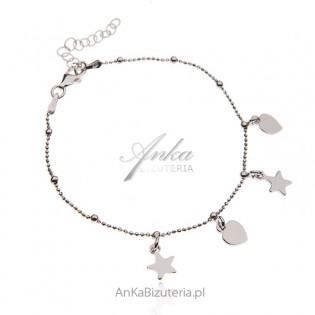Srebrna bransoletka z serduszkami i gwiazdkami