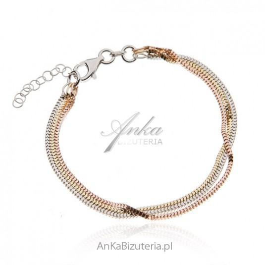 Bransoletka srebrna z trzema kolorami złota - trzy łańcuszki