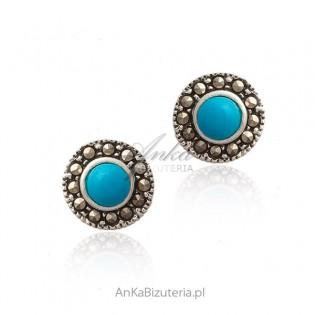 Kolczyki srebrne z markazytami i niebieskim turkusem