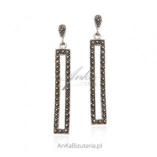 Kolczyki srebrne z markazytami długie