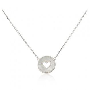 Srebrny naszyjnik z masą perłową z serduszkiem