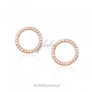 Srebrne kolczyki pozłacane różowym złotem z cyrkoniami KOŁA - OPONKI