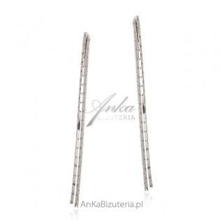 Kolczyki srebrne wiszące długie łańcuszki -Włoska biżuteria