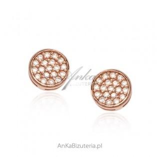 Kolczyki srebrne pozłacane różowym złotem z białymi cyrkoniami