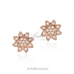 Kolczyki srebrne pozłacane różowym złotem z cyrkoniami- maleńkie SŁONECZNIKI