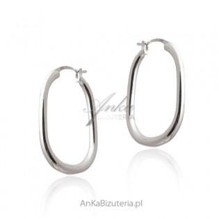 Biżuteria srebrna - Kolczyki srebrne owalne koła