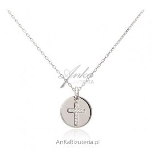 Srebrny naszyjnik KRZYŻYK z cyrkoniami w kółeczku - PIĘKNA biżuteria włoska