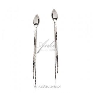 Długie kolczyki srebrne - wiszące łańcuszki z zakręconą łezką