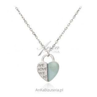 Srebrny naszyjnik z miętowym agatem SERDUSZKO z LOVE