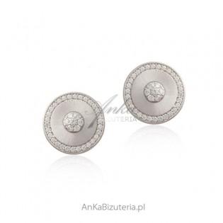 Piękne kolczyki srebrne okrągłe satynowane z mikrocyrkoniamii