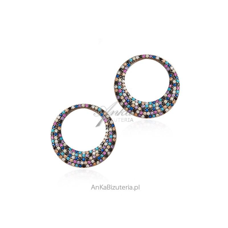 kolorowe kolczyki biżuteria srebrna