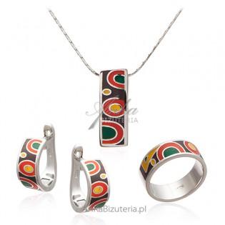 Srebrna biżuteria Komplet emaliowany - biżuteria włoska