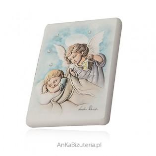 Obrazek Aniołek na białym drewnie z kryształami Swarovski
