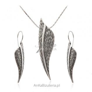 Komplet biżuteria srebrna oksydowana LISTKI