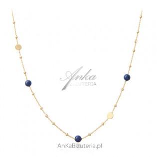 Naszyjnik srebrny pozłacany z lapis lazuli