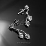 Kolczyki srebrne z cyrkoniami - srebrne delikatne listki