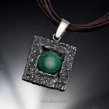 Biżuteria srebrna wisiorek z malachitem duży .Piękny na prezent