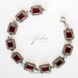 Oryginalna Biżuteria Bransoletka srebrna Granaty oraz markazyty