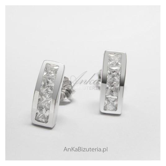 Srebrny komplet Kolczyki i Zawieszka z cyrkoniami