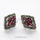Biżuteria ze srebra - Kolczyki srebrne z granatami