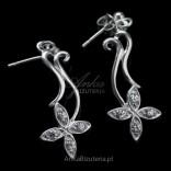Kolczyki srebrne kwiatki z białymi cyrkoniami