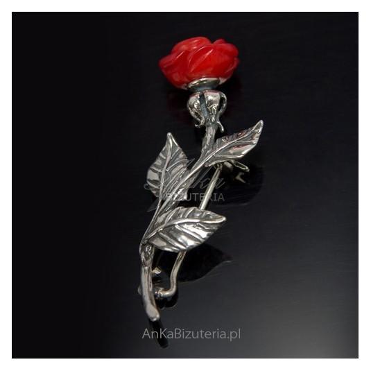 Oryginalna Biżuteria Srebrna-Broszka srebrna RÓŻA z koralem