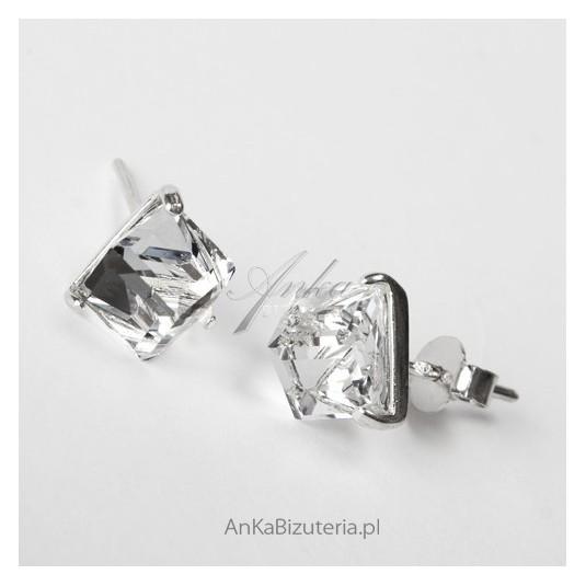 56f934d5074a78 Kolczyki srebrne małe Biżuteria z kryształem górskim Subtelne kolczyki
