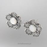 Kolczyki srebrne -KWIATEK markazyty i masa perłowa