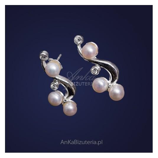 unikalne kolczyki srebrne - perły i cyrkonie
