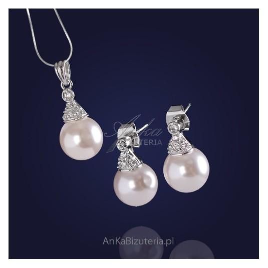 Klasyczny komplet biżuterii srebrny perły z cyrkoniami .