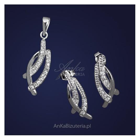 Srebrny komplet wisiorek kolczyki z cyrkonią