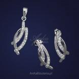 Srebrny komplet wisiorek kolczyki z cyrkoniami