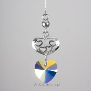 Srebrny naszyjnik z kryształami Swarovskiego firmy SPARK.