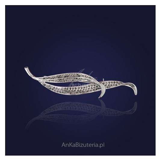 Srebrna Biżuteria-Broszka z markazytami - duża.