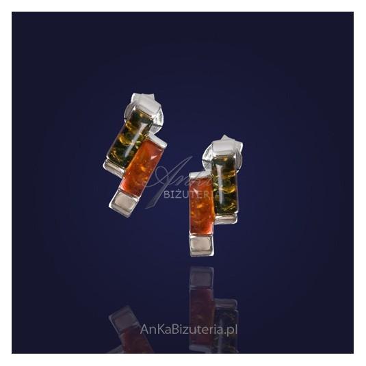 Srebrne kolczyki z kolorowym bursztynem