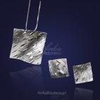 """Komplet srebrny """"na fali"""" - kolczyki i wisior -W wyjątkowo atrakcyjnej cenie!"""