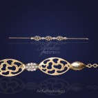 Prześliczna srebrna bransoletka z cyrkoniami-złocona.