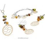 Naszyjnik z kryształkami Swarovski z elementami złoconymi