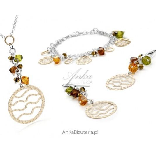 Kolczyki srebrne z kryształami Swarovski z elementami złoconymi