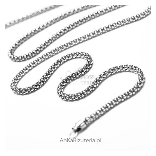 Srebrny łańcuszek 60 świetny samodzielnie i do wisiorków z markazytami.