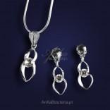 Biżutetria-Komplet srebrny wisiorek i kolczyki z cyrkoniami