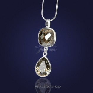 Nuzinkowy naszyjnik-na łańcuszku z kryształami Swarovski w kolorze- Silver Shadow